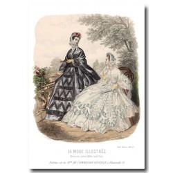Gravure La Mode Illustrée 1863 23