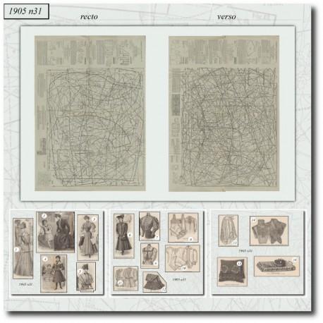 Patrons de jupon,robe,linge 1905 N°31