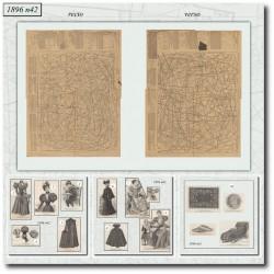 Sewing patterns old satin dress 1896 N°42