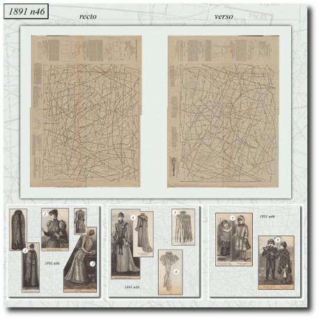 Sewing patterns satin bodice La Mode Illustrée 1891 N°46