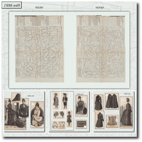 Sewing patterns dinner dress La Mode Illustrée 1886 N°48