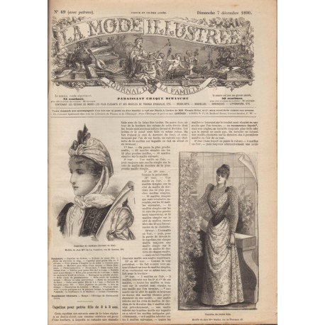 magazine La Mode Illustrée dress satin astrakan 1890 49