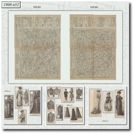 La Mode Illustrée 1908 N°52-jupe-robe-veste-victorienne