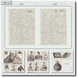 Patrons de La Mode Illustrée 1866 N°32