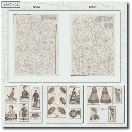 Patrons de La Mode Illustrée 1867 N°21