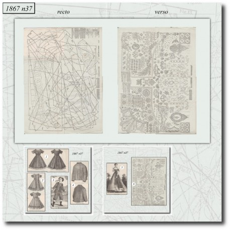 Patrons de La Mode Illustrée 1867 N°37