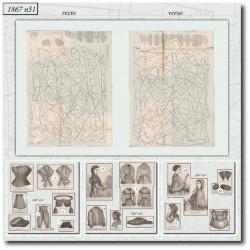 Historical sewing patterns La Mode Illustrée 1867 N°51