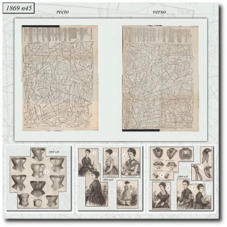 Historical sewing patterns La Mode Illustrée 1869 N°45