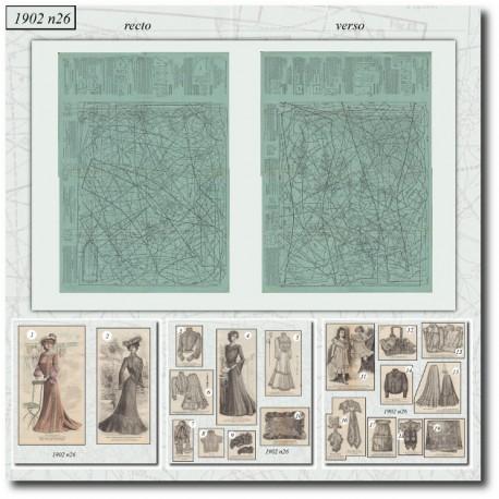 Edwardian sewing patterns La Mode Illustrée 1902 N°26