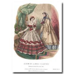 Gravure La Mode Illustrée 1862-1