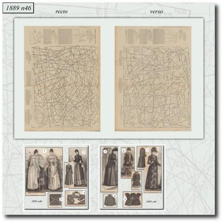 Patrons de La Mode Illustrée 1889 N°46
