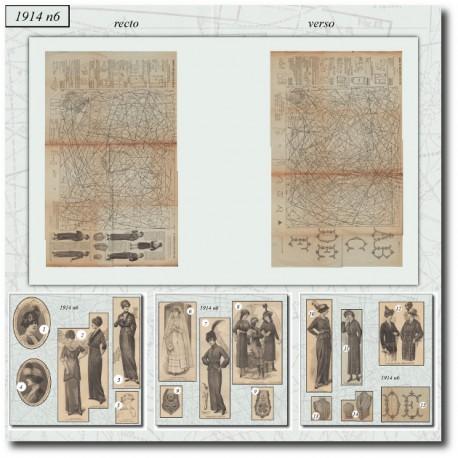 Sewing patterns satin dress 1914 N°6