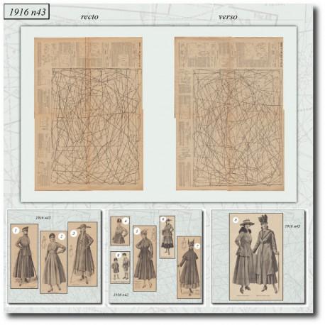 Sewing patterns La Mode Illustrée 1916 N°43