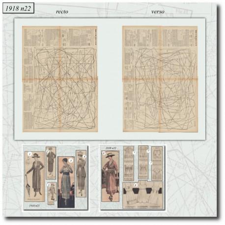Patrons de La Mode Illustrée 1918 N°22