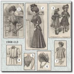 Patrons de La Mode Illustrée 1908 N°13