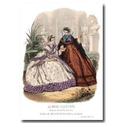 Gravure La Mode Illustrée 1863 24