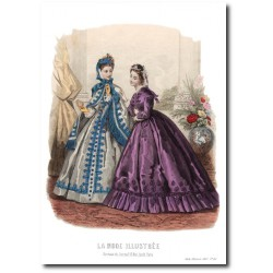 Gravure La Mode Illustrée 1863 42