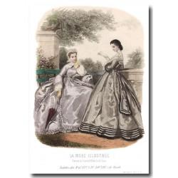 Gravure La Mode Illustrée 1863 32