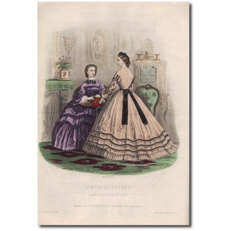 Gravure de La Mode Illustrée 1862 09