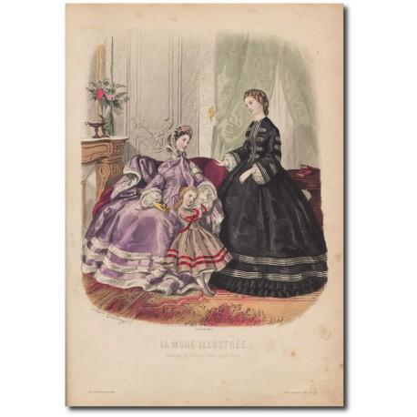 Gravure de La Mode Illustrée 1862 48