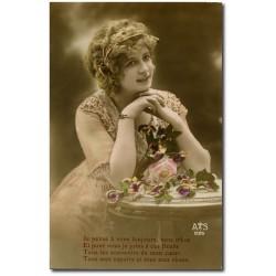 Carte postale-femme-soldat-1917