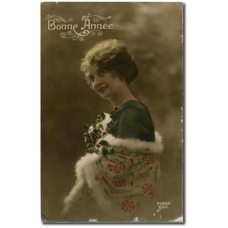 Carte postale-charlotte-guerre-bonne-année- 1917-23
