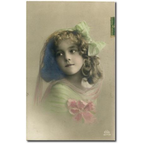 Carte postale-fillette-noeud-vert-1917- 31