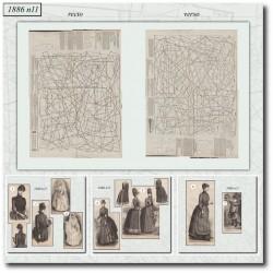 Patrons de robe en cachemire La Mode Illustrée 1886 N°11