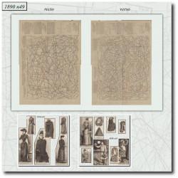 Sewing patterns La Mode Illustrée satin dress astrakan 1890-49