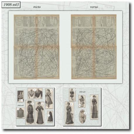 Patrons de La Mode Illustrée 1908 N°43