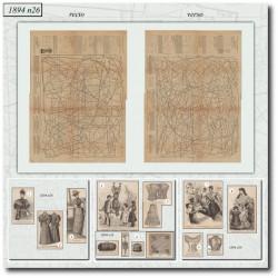 Sewing patterns corset jupon corsage 1894 N°26