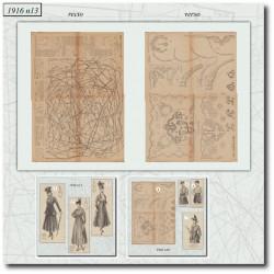 Patrons de La Mode Illustrée 1916 N°13