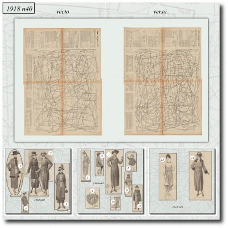 Patrons de La Mode Illustrée 1918 N°40