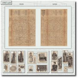 Patrons de La Mode Illustrée 1892 N°44