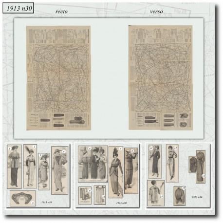 Patrons de La Mode Illustrée 1913 N°30