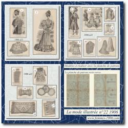 Sewing patterns La Mode Illustrée 1906 N°22 garden party dress